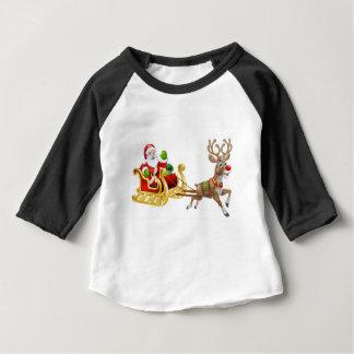 Christmas Santa Claus Sleigh Sled Reindeer Baby T-Shirt