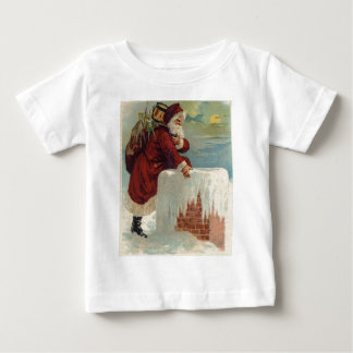 Christmas -  Santa Coming Down the Chimney Baby T-Shirt