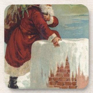 Christmas -  Santa Coming Down the Chimney Beverage Coaster