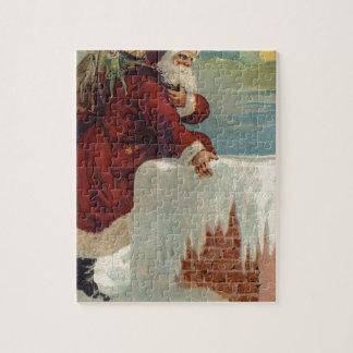 Christmas -  Santa Coming Down the Chimney Jigsaw Puzzle