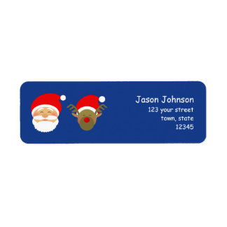 Christmas Santa Cute Cartoon Colorful Funny Return Address Label