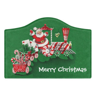 Christmas Santa Driving Peppermint Candy Train Door Sign