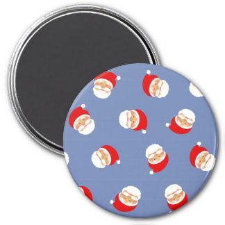 Christmas Santa Funny Pattern Stylish Blue Cool Magnet