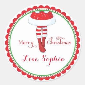 Christmas Santa girl favor goodie bag stickers