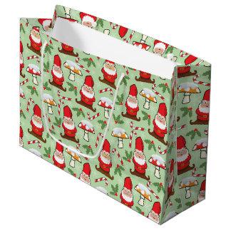 Christmas Santa Gnomes Design Large Gift Bag