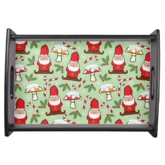 Christmas Santa Gnomes Design Serving Tray