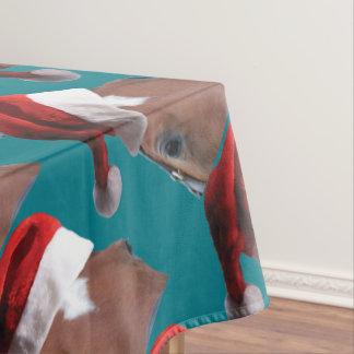 Christmas Santa Hat Horse Tablecloth