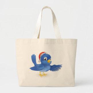 Christmas Santa Hat Pointing Bluebird Bag