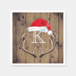 Christmas Santa Hat Reindeer Antlers Monogram Paper Napkin