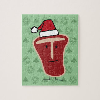 Christmas Santa Hat T-Bone Steak meat protein Jigsaw Puzzle