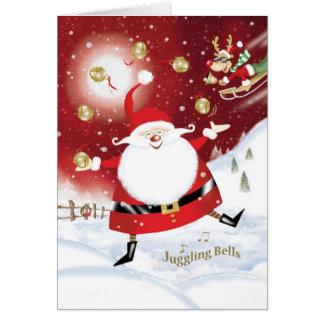 Christmas, Santa Juggling Sleigh Bells Card