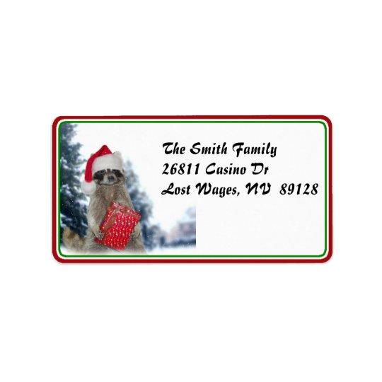 Christmas Santa Racoon Bandit Address Label