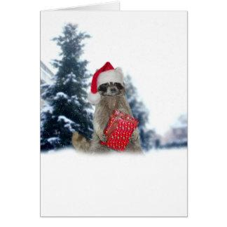 Christmas Santa Racoon Bandit Card