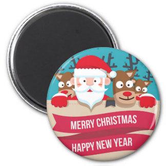 Christmas Santa Reindeer Cute Cartoon Gift 6 Cm Round Magnet