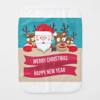 Christmas Santa Reindeer Cute Cartoon Gift Burp Cloth