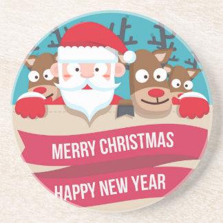 Christmas Santa Reindeer Cute Cartoon Gift Coaster