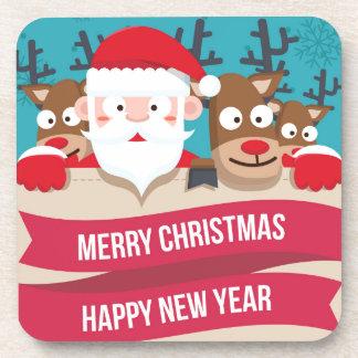 Christmas Santa Reindeer Cute Cartoon Gift Drink Coasters