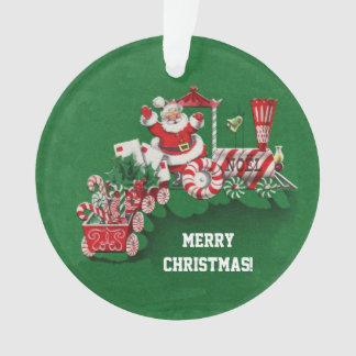 Christmas Santa Riding Peppermint Candy Train Ornament