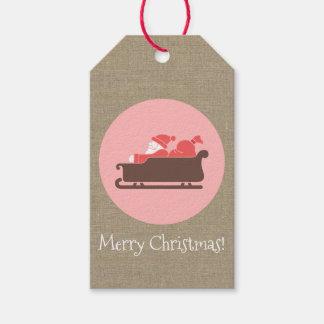 """Christmas Santa Sleigh Medallion """"Merry Christmas"""" Gift Tags"""