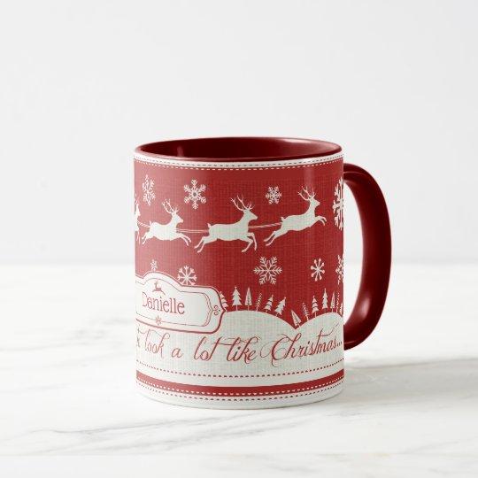Christmas Santa Sleigh Retro Custom Name Mug