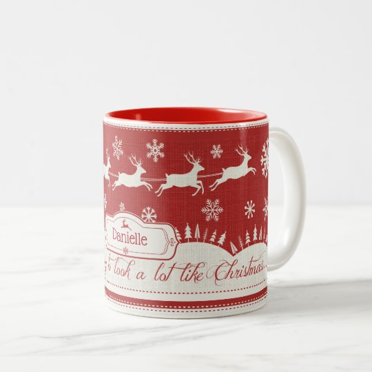 Christmas Santa Sleigh Retro Custom Name Mug