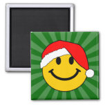 Christmas Santa Smiley Face Square Magnet