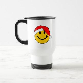 Christmas Santa Smiley Face Travel Mug