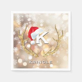 Christmas Santa Snowflakes Antlers Bokeh Lights Paper Serviettes