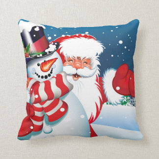 Christmas Santa & Snowman Pillow