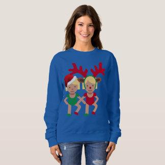 christmas santa twins emoji womens sweatshirt