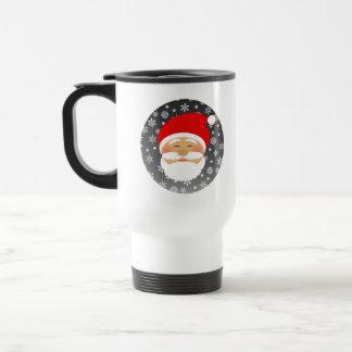 Christmas Santa White Simple Cute Chic Snowflakes Travel Mug