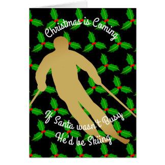 Christmas Santa Would be Skiing Card