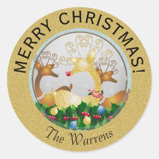 Christmas Santa's Reindeer Snowflakes Festive Classic Round Sticker