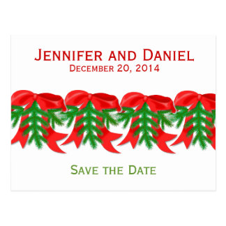 Christmas Save the Date Announcements Bows Postcard