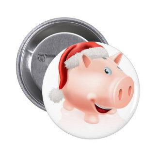 Christmas savings piggy bank button