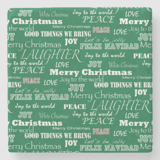 Christmas Sayings Typography Stone Coaster
