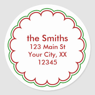 Christmas Scallop Address Stickers