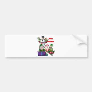 Christmas Scene Elfs Snowman Santa Bumper Sticker