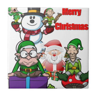 Christmas Scene Elfs Snowman Santa Tile