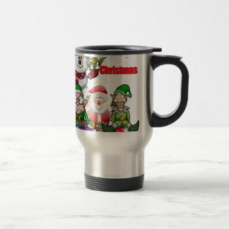 Christmas Scene Elfs Snowman Santa Travel Mug