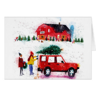 Christmas scene watercolor card