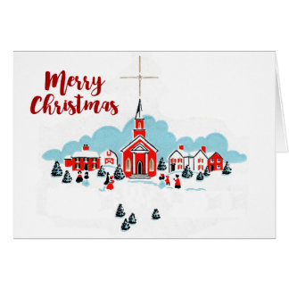 Christmas Scene with a Red Church and Star Above Card