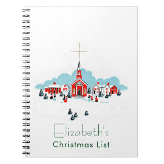 Christmas Scene with a Red Church and Star Above Notebook