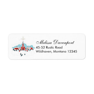 Christmas Scene with a Red Church and Star Above Return Address Label