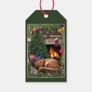 Christmas Scene with Cat at the Fireplace Gift Tags
