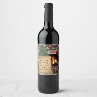 Christmas Scene with Your Text Wine Label