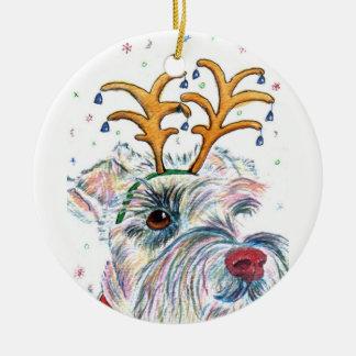 Christmas Schnauzer Ceramic Ornament