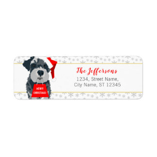Christmas Schnauzer Dog Santa Hat Address Labels