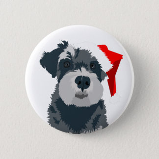Christmas Schnauzer Dog Santa Hat Button