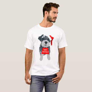 Christmas Schnauzer Dog Santa Hat T-Shirt